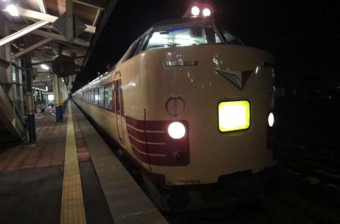 現役時代の485系特急「いなほ」、2010年・酒田駅にて
