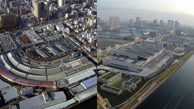 築地市場(左)豊洲新市場(右) 写真提供:産経新聞社