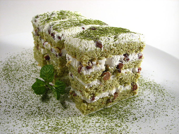 Matcha and Redbean Cake