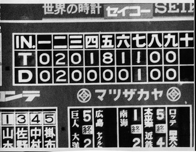 スコアボード 古い 中日 阪神 プロ野球