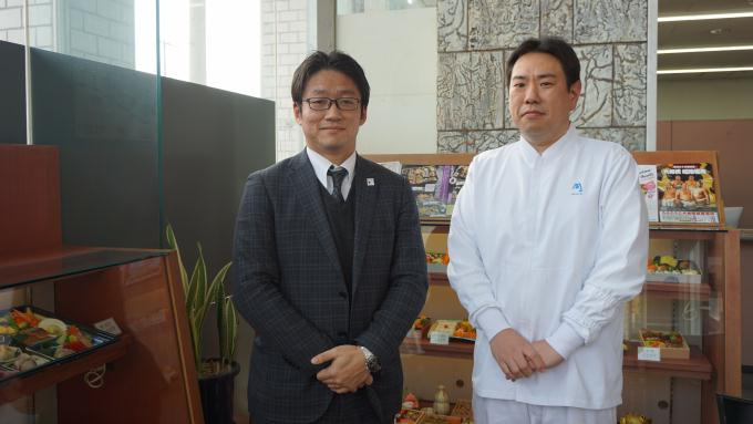 まねき食品 竹田典高専務 廣重泰寛料理企画室長