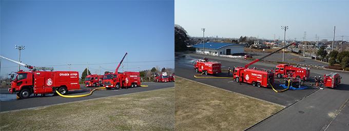 ドラゴン・ハイパー・コマンド・ユニット 訓練 大型放水砲搭載ホース延長車 大容量送水ポンプ車