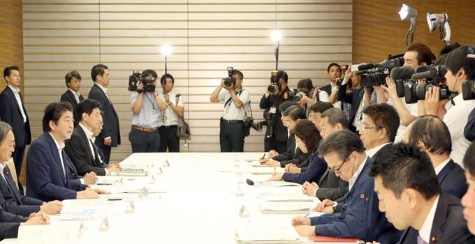 豪雨非常災害対策本部会議 西日本豪雨 対策本部 安倍 安倍晋三