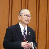 懇談会終了後の連合・神津里季生会長(1月27日撮影)