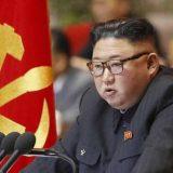 北朝鮮の朝鮮労働党大会で演説する金正恩党委員長(朝鮮中央通信=共同)撮影::2021年1月6日、平壌  写真提供:共同通信社