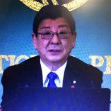 日本記者クラブ主催のオンライン記者会見に臨む南三陸町・佐藤仁町長(2月24日撮影)