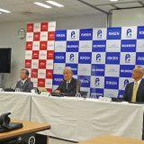 4月1日、理研東京連絡事務所で開かれた記者会見(左から富士通・原常務、理研・松本理事長、理研・中村センター長)