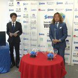 抽選会の模様 (左)日本ブラインドサッカー協会 専務理事・事務局長の松崎英吾さん (右)北澤豪さん