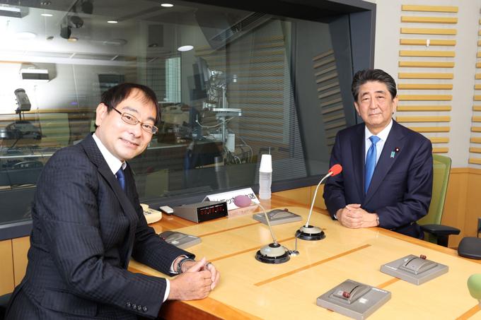 飯田浩司アナウンサー、安倍晋三前内閣総理大臣