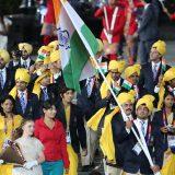 ロンドン五輪2012 五輪開会式でインドの中で入場行進した謎の女性 =五輪公園 撮影日:2012年07月27日 写真提供:産経新聞社