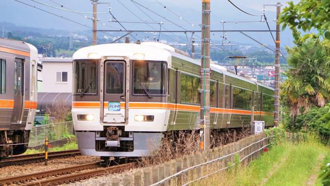 313系電車・普通列車とすれ違う373系電車・特急「ふじかわ」、身延線・富士宮~源道寺間