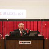 株主総会で会長として最後のあいさつ(2021年6月25日 スズキ提供)