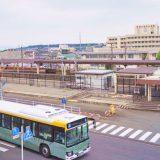 30年経ち屋根が撤去された富士宮駅団体ホーム。線路を挟んで病院が見える
