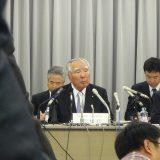 初めて取材したスズキの決算会見 修会長は社長を兼ねていた(2011年5月10日撮影)