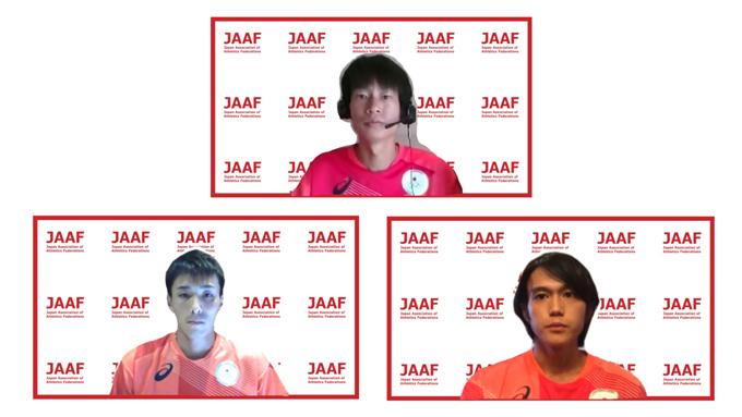 <上>中村匠吾(富士通)、<左>服部勇馬(トヨタ自動車)、<右>大迫傑(Nike)
