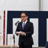 「ウーブン・シティ」地鎮祭であいさつするトヨタ自動車・豊田章男社長(トヨタ提供)