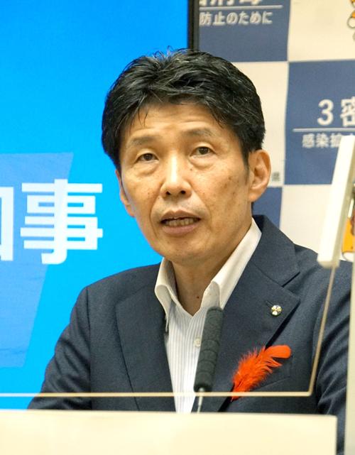 民間シンクタンク「ブランド総合研究所」(東京都)の令和3年の都道府県魅力度ランキングで、群馬県が下位の44位(前年40位)に沈んだことが判明し、山本一太知事は12日の臨時会見で、ランキングの根拠が不明確だとして、「法的措置を含めた検討を始めた」と明らかにした。=2021年10月12日、群馬県庁  写真提供:産経新聞社